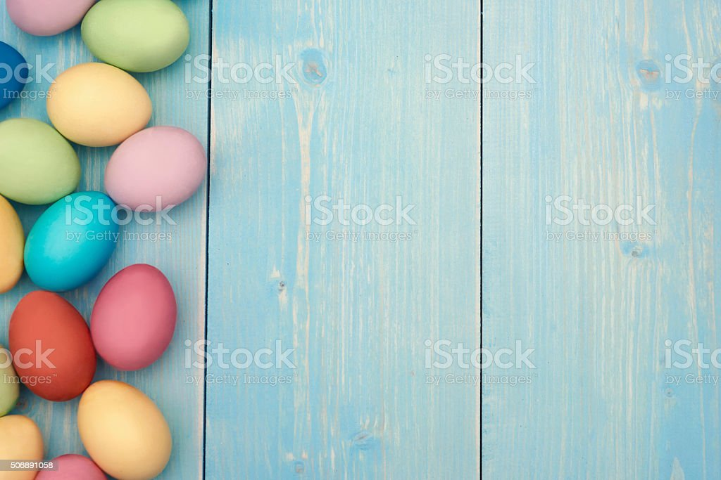 Copy space next to the belt of easter eggs stock photo
