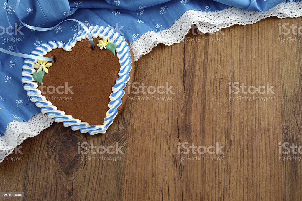 copy space Oktoberfest Dirndl with gingerbread heart stock photo