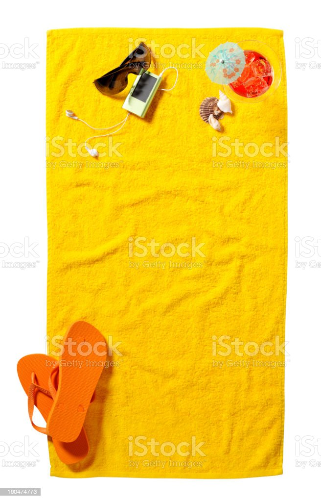 Copy Space on a Yellow Beach Towel stock photo