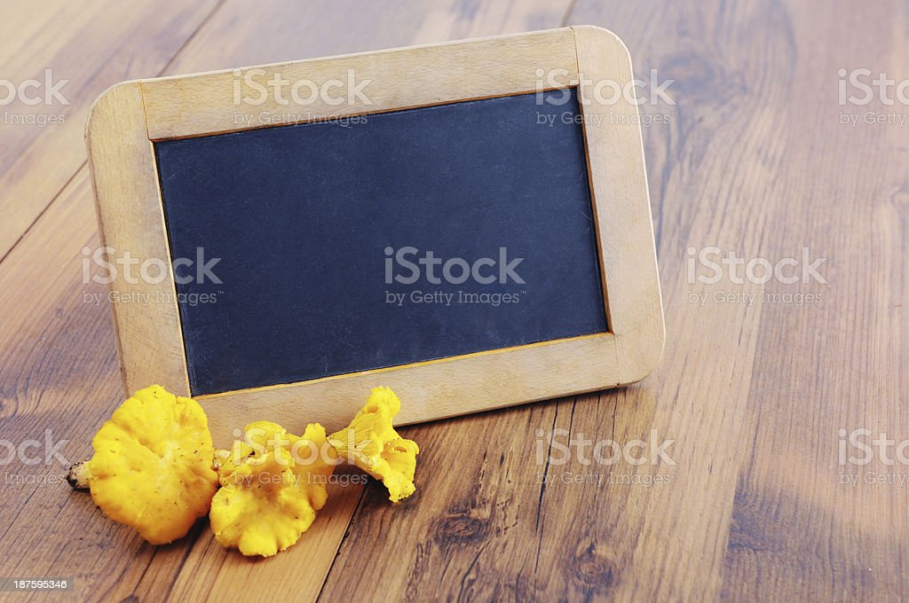 copy space on blackboard with golden chanterelle mushroom stock photo