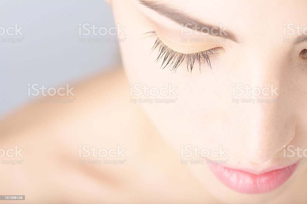 Copy space picture half section of young beautiful woman stock photo