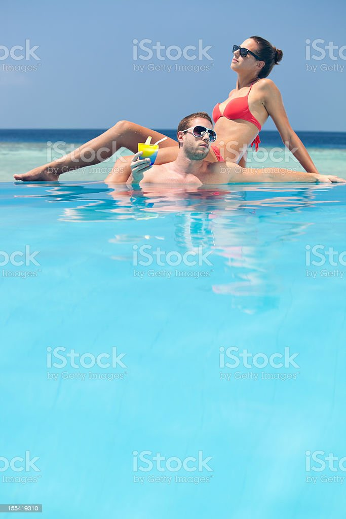 copy space pool couple royalty-free stock photo
