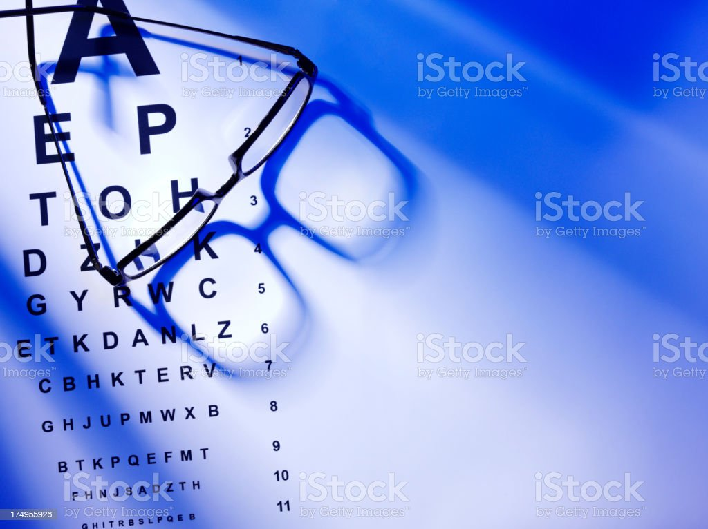 Copy Space with a Eye Test and Glasses stock photo