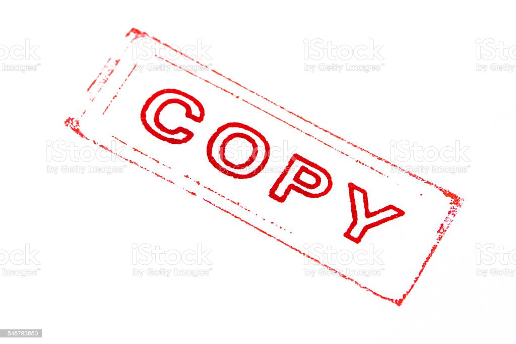 copy stamper printed in red stock photo