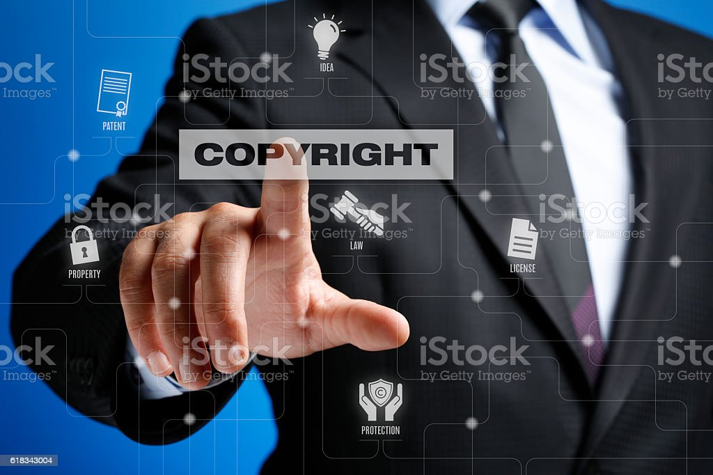 Copyright Concept on Interface Touch Screen stock photo