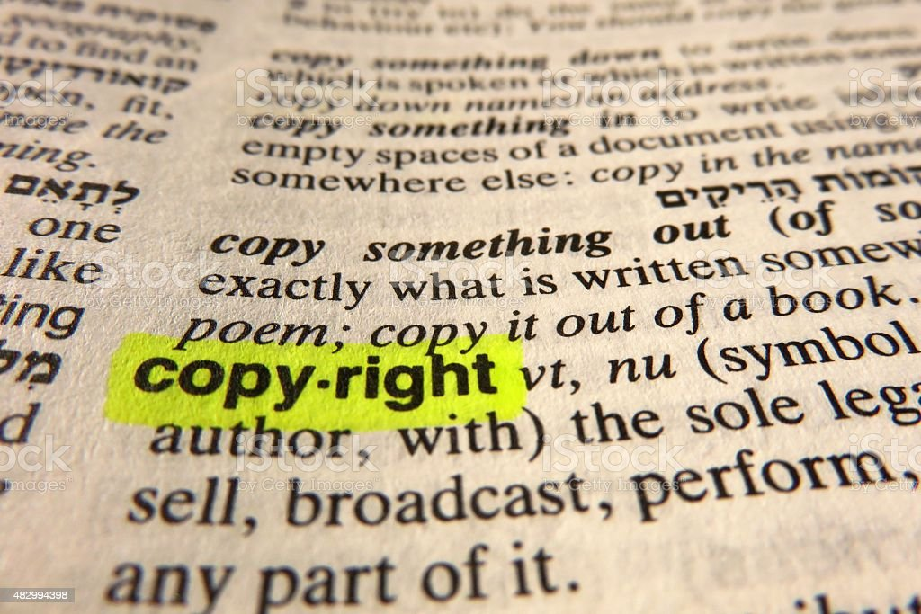Copyright - dictionary definition stock photo