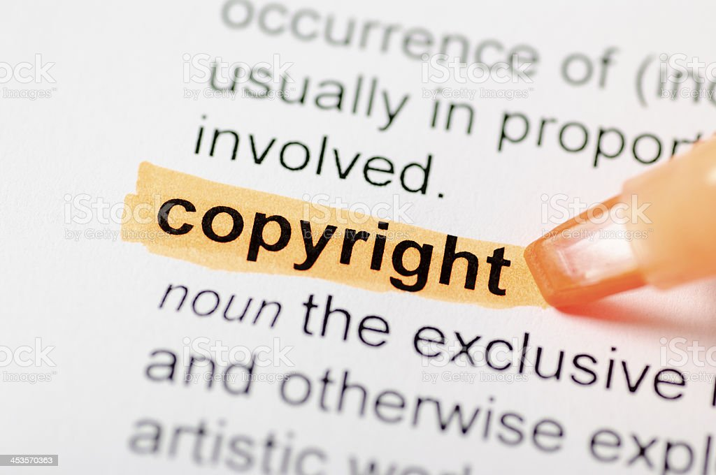 Copyright highlighted in dictionary royalty-free stock photo