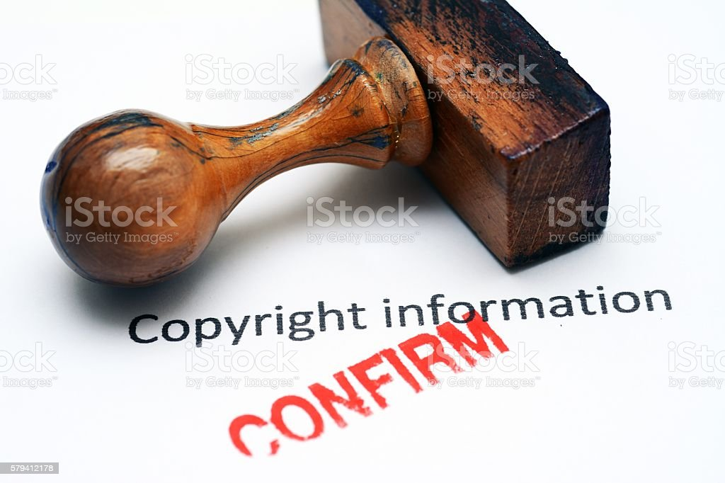 Copyright info confirm stock photo