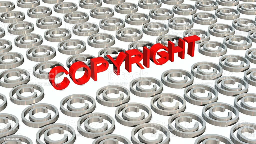 Copyright sign and lettering isolated on white background stock photo
