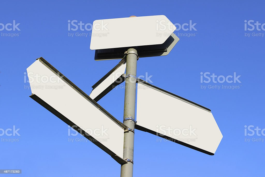 Copyspace blank signpost blanked out for text or messages royalty-free stock photo