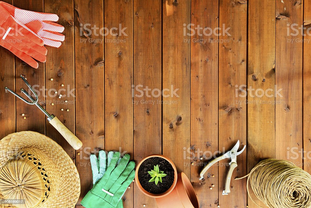Copyspace frame with gardening tools and objects on wooden background stock photo