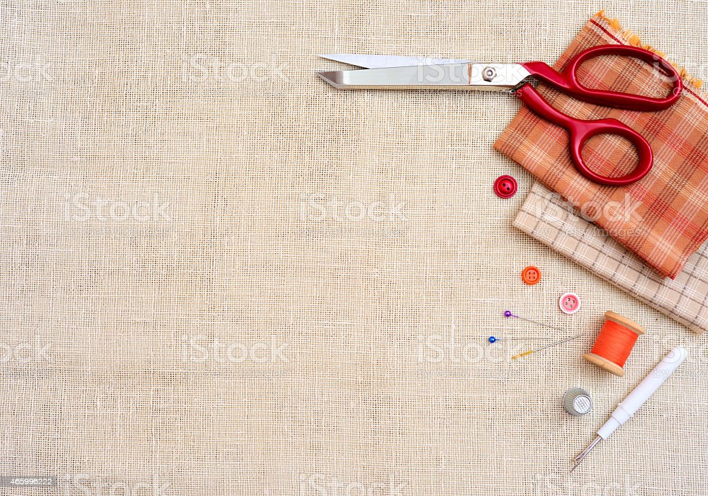 Copyspace frame with sewing tools and accesories stock photo