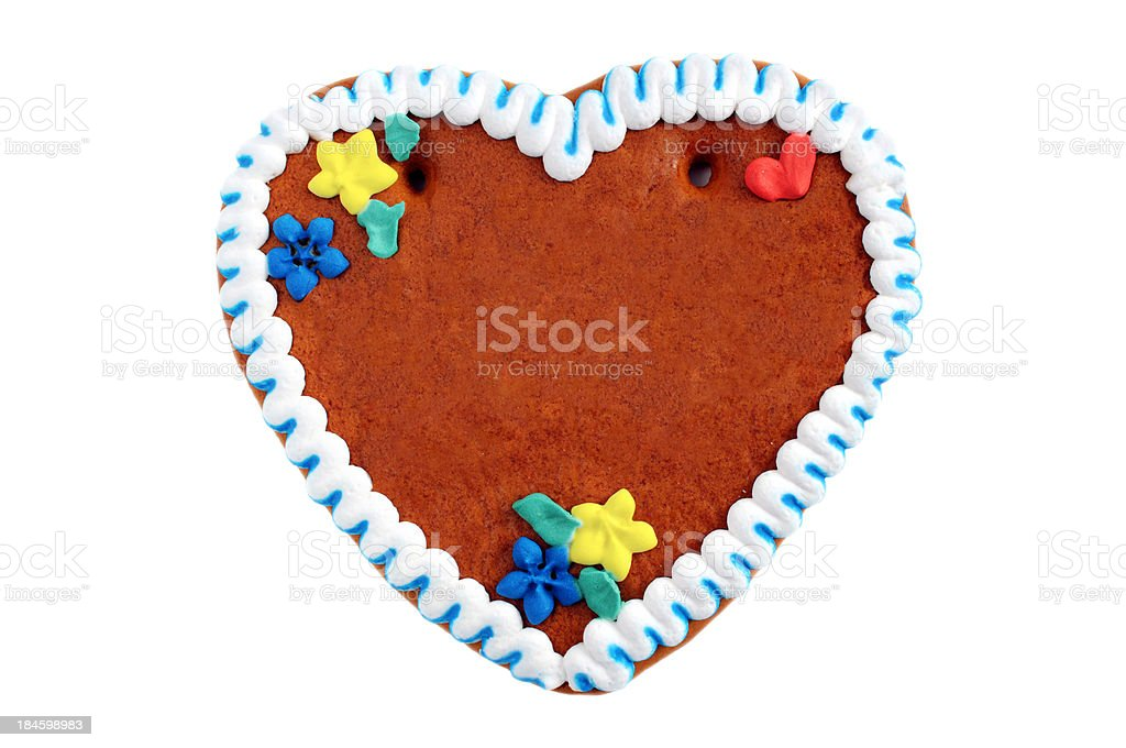 copyspace gingerbread cookie heart stock photo