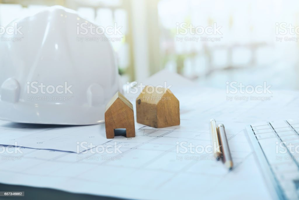 Copyspace of Architecture and Engineer Desktop. stock photo