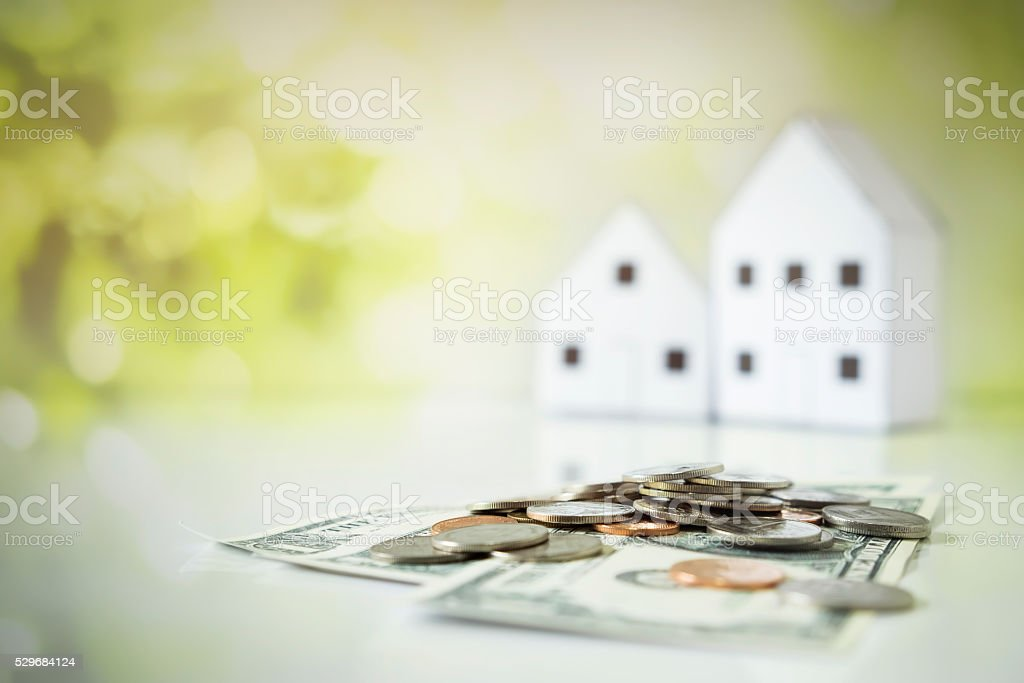 Copyspace of save money for house concept. stock photo