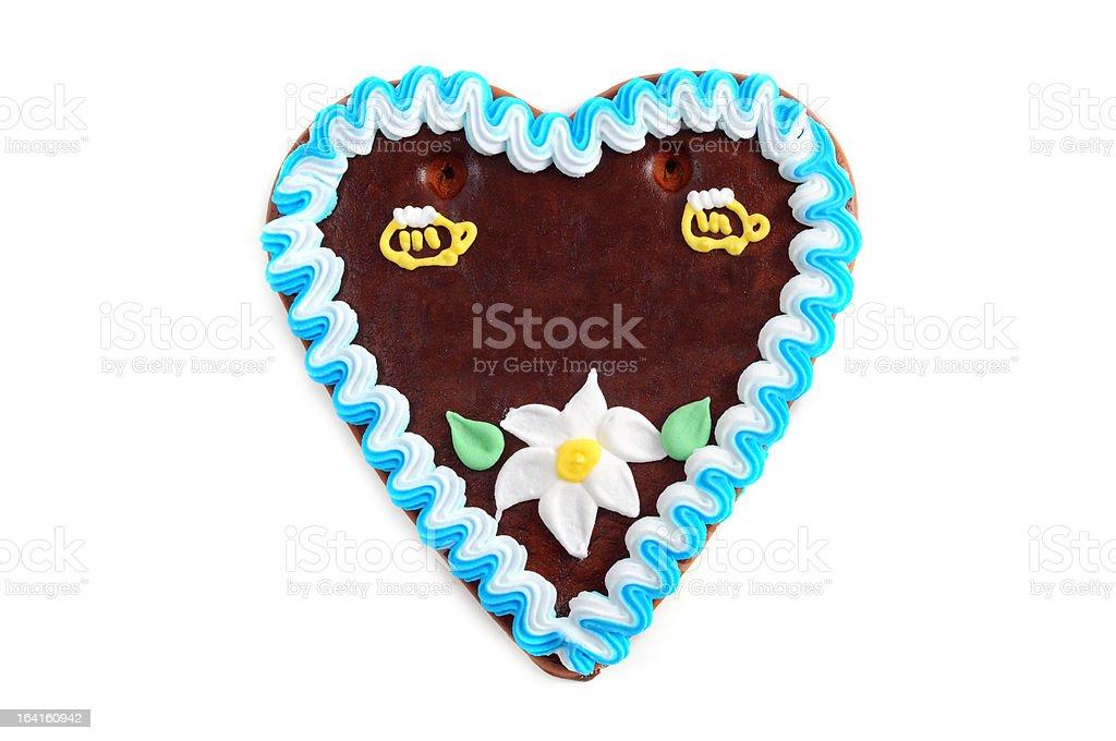 copyspace Oktoberfest Gingerbread Cookie in heart shape royalty-free stock photo