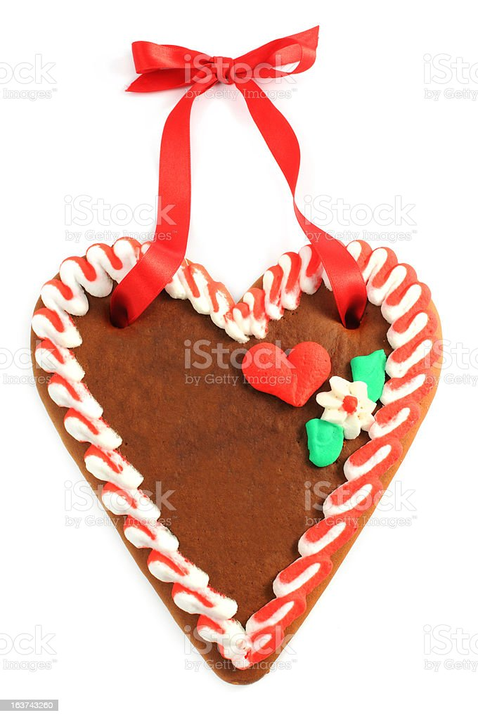 copyspace on gingerbread cookie heart stock photo