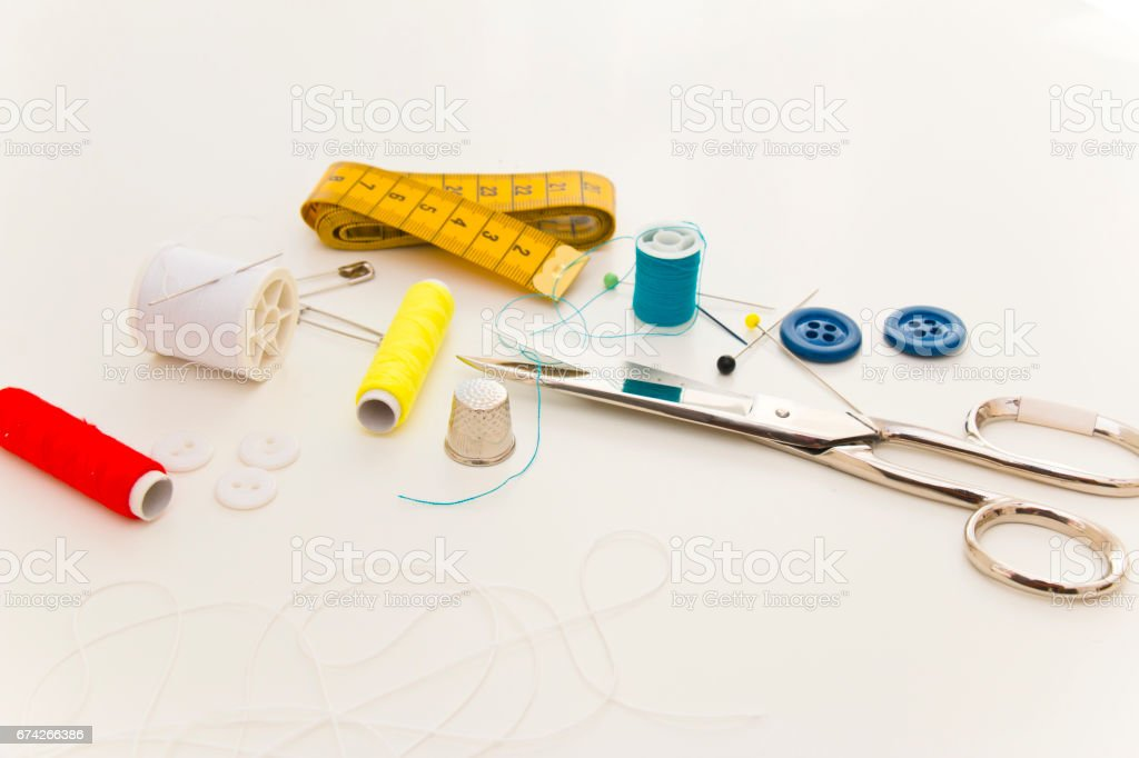 Copyspace with sewing tools and accessories stock photo