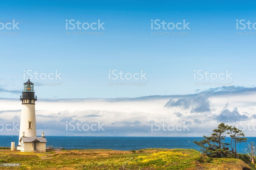 Copyspaqce of Yaquina Head Lighthouse and Horizon stock photo