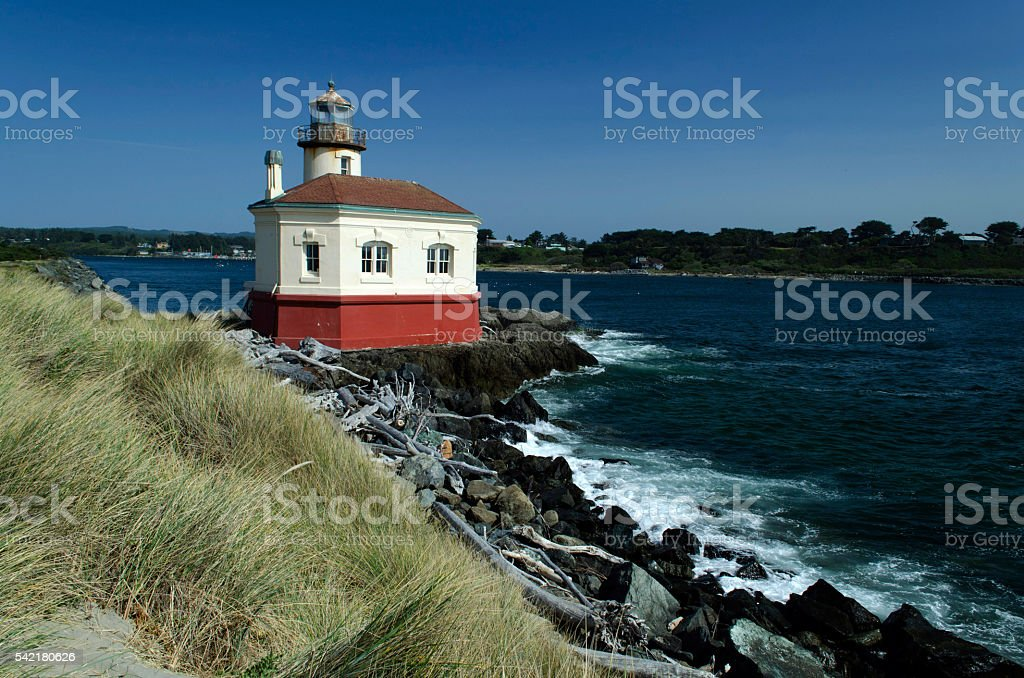 Coquille River Lighthouse in Bandon, Oregon stock photo