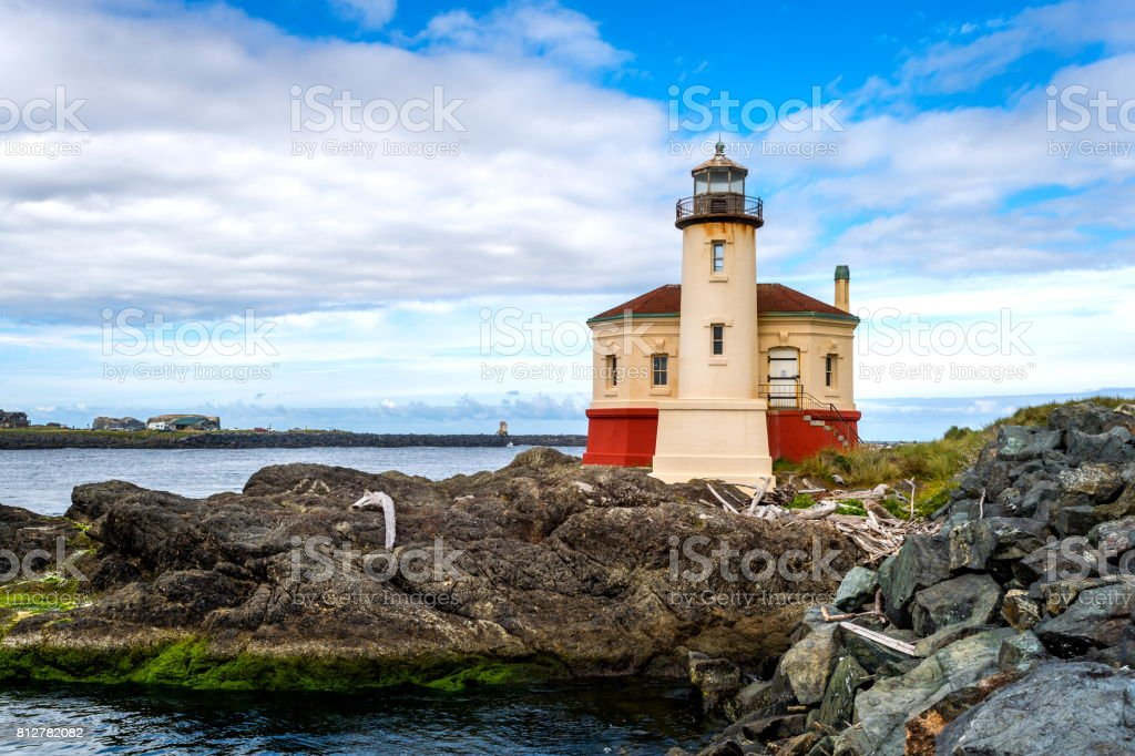 Coquille River Lighthouse,Oregon stock photo