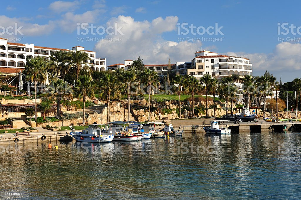Coral Bay harbor in Paphos, Cyprus on a sunny day stock photo