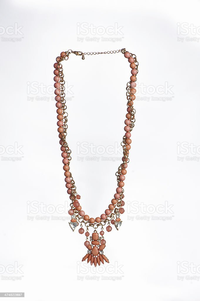 Coral Beaded Necklace royalty-free stock photo