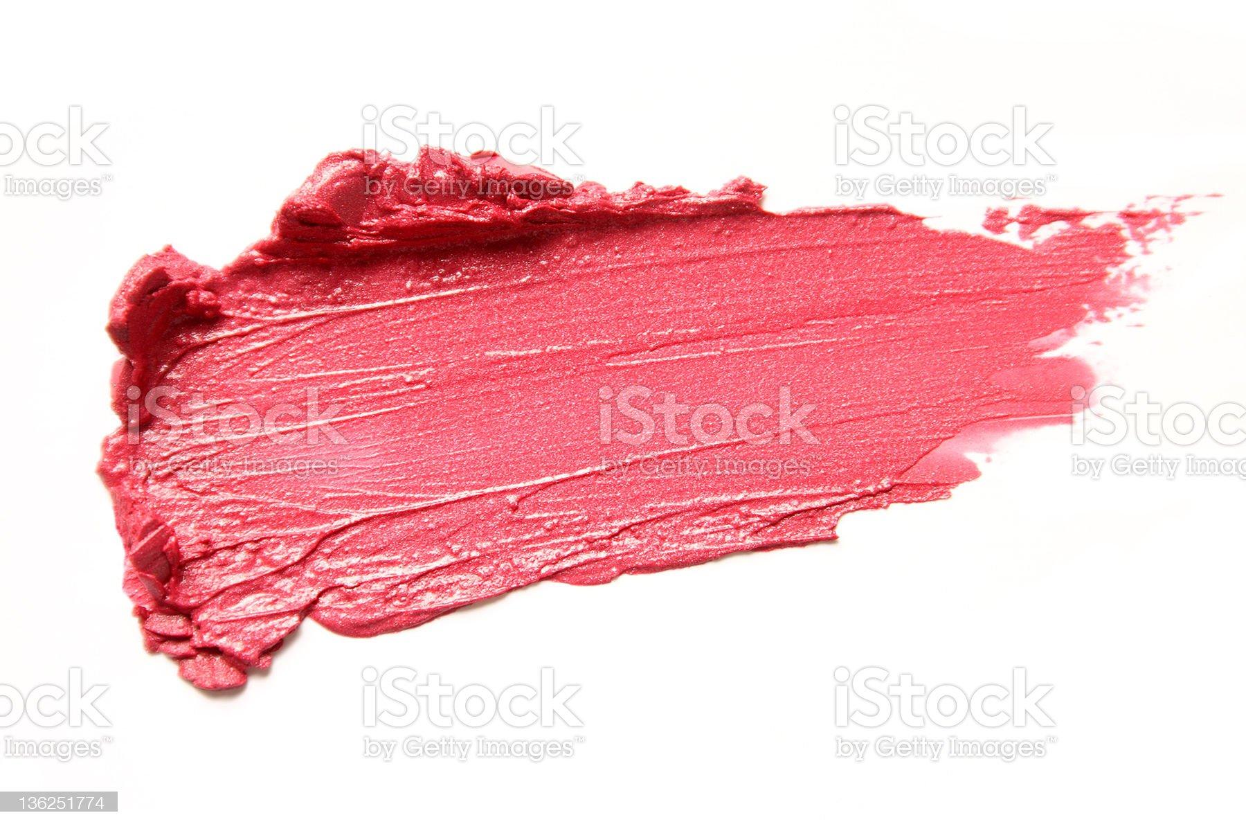Coral lipstick smear on white background royalty-free stock photo