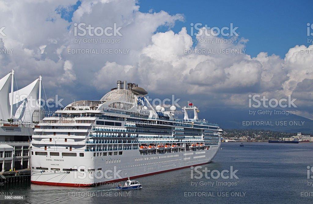 Coral Princess Cruise Ship in Vancouver, Canada stock photo