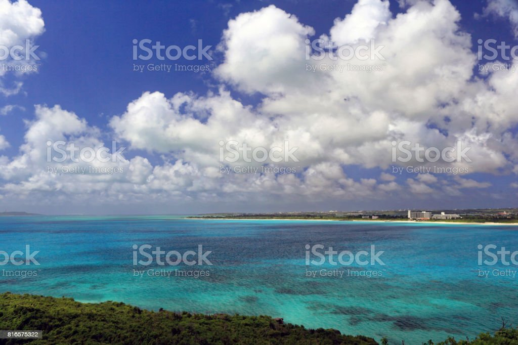 Coral sea at Miyako Island stock photo