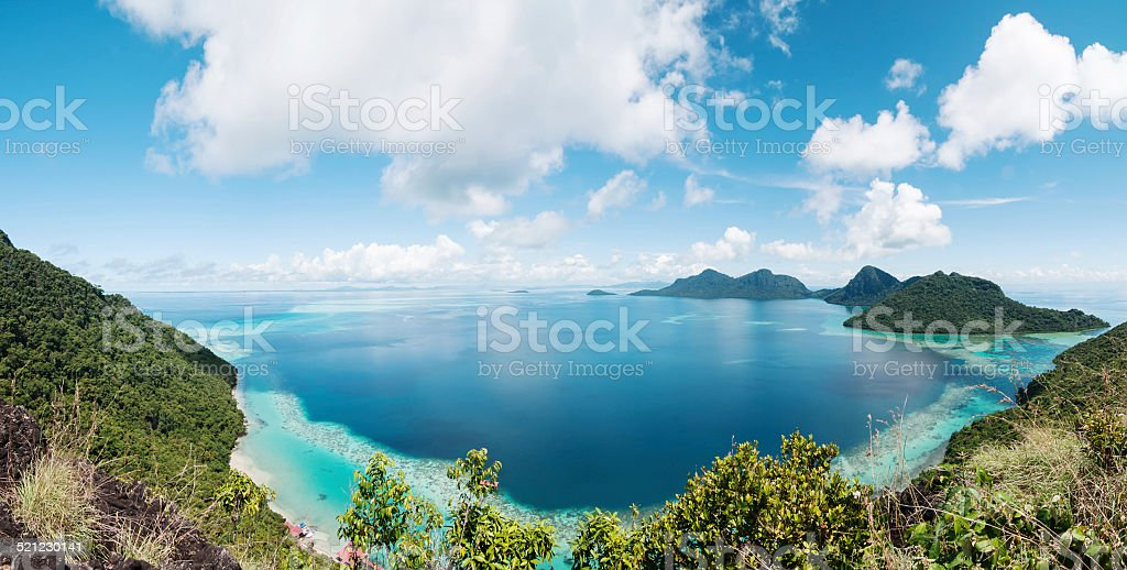 Corals reef and islands seen from high angle stock photo