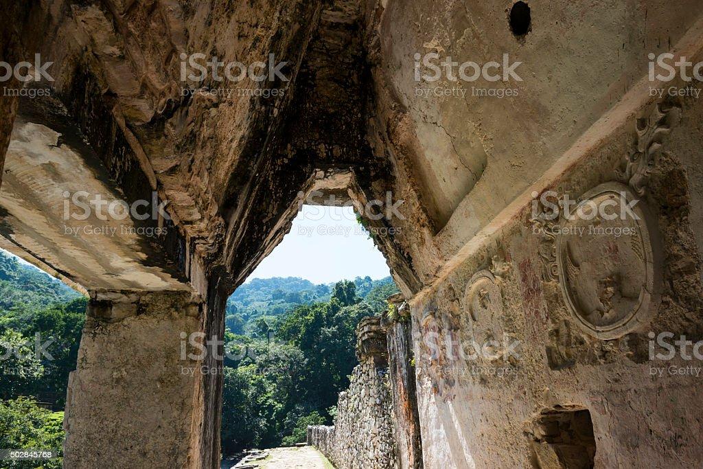 corbel arch at the Palacio - Palenque, Mexico stock photo