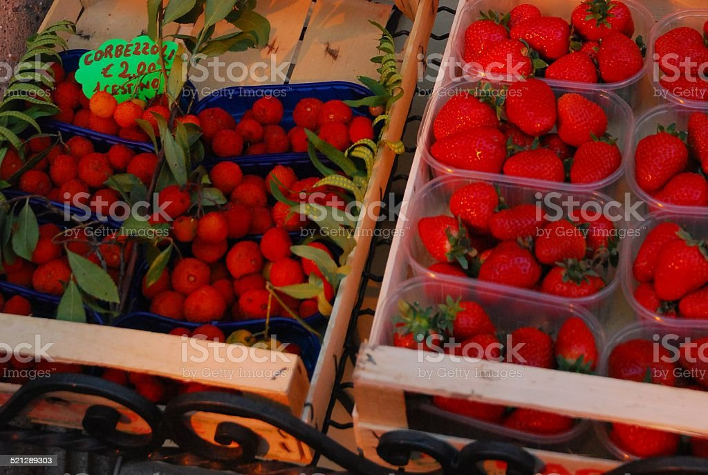 Corbezzoli and Strawberries royalty-free stock photo
