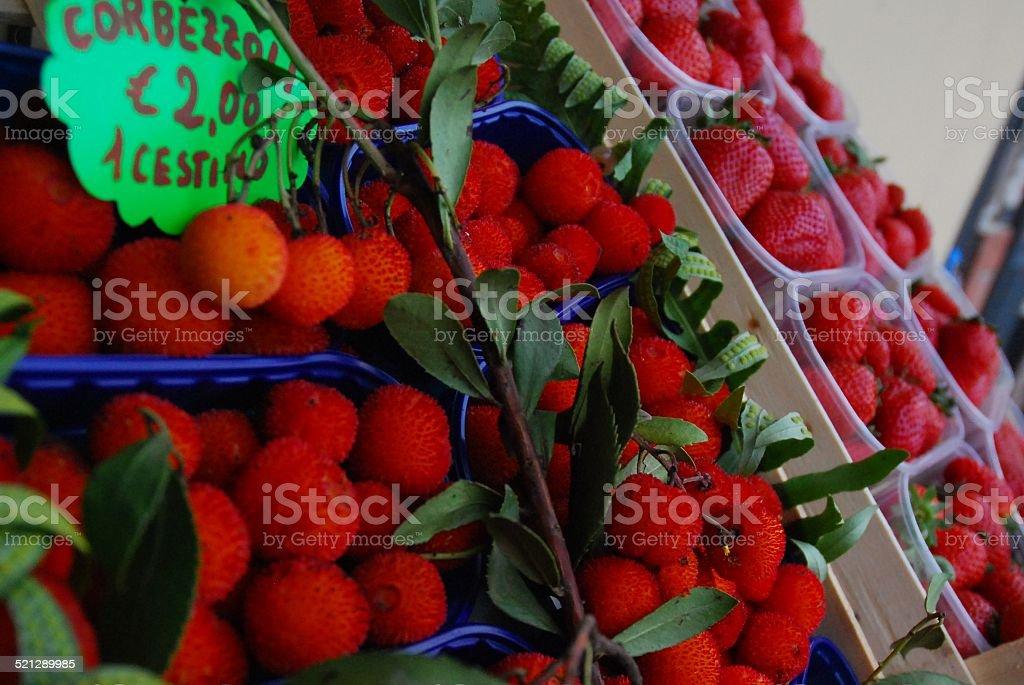 Corbezzoli and Strawberries royalty-free stock photo