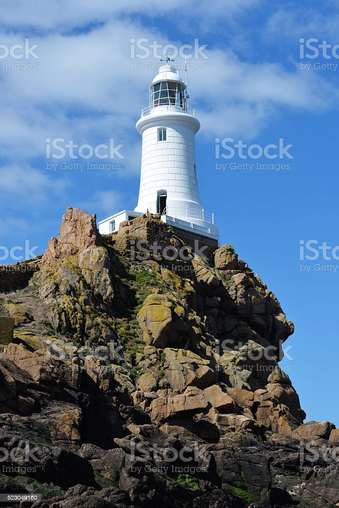 Corbiere Lighthouse on Jersey stock photo
