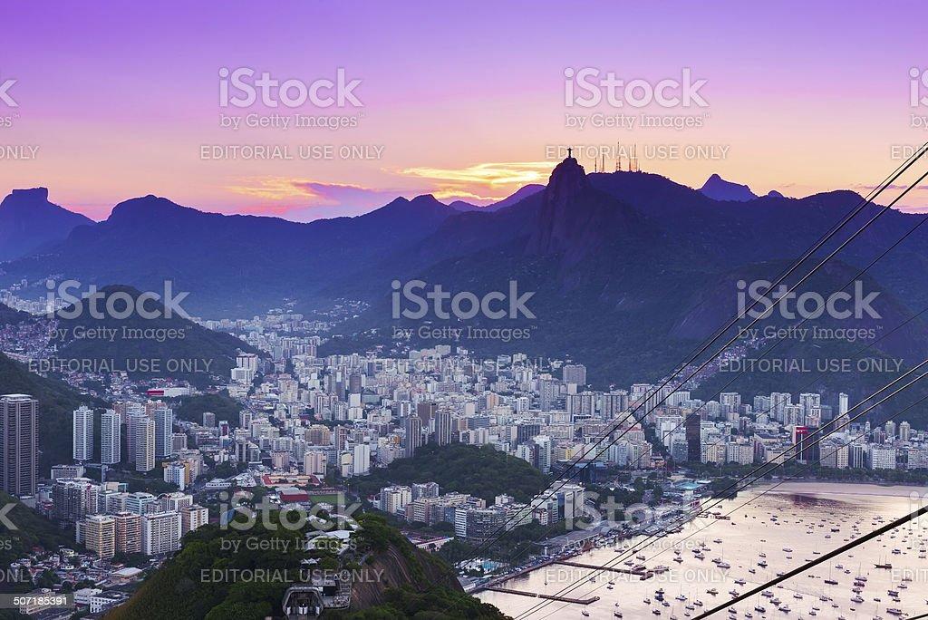 Corcovado and Botafogo in Rio de Janeiro stock photo