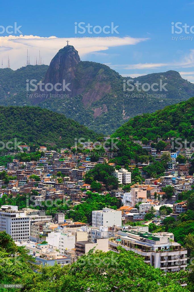 Corcovado, favela Babilonia near Copacabana in Rio de Janeiro. Brazil stock photo