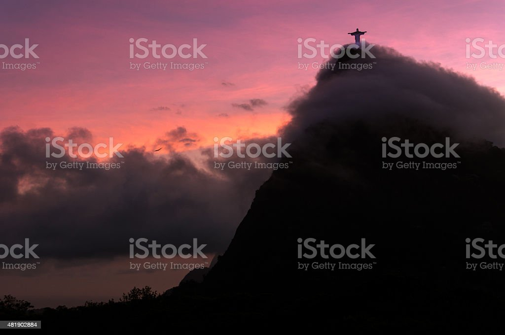 Corcovado Mountain Silhouette stock photo