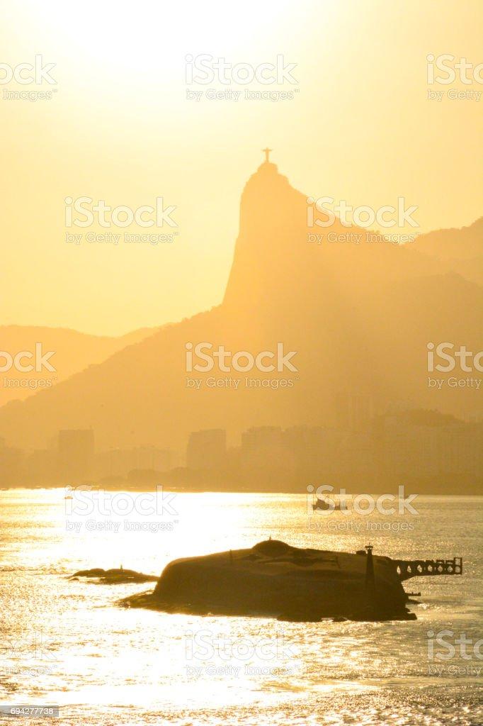 Corcovado mountain silhouettes, Rio de janeiro, Brazil stock photo