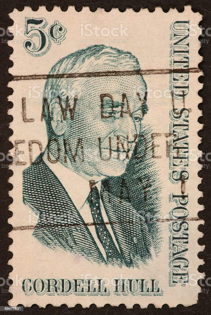Cordell Hull stamp stock photo