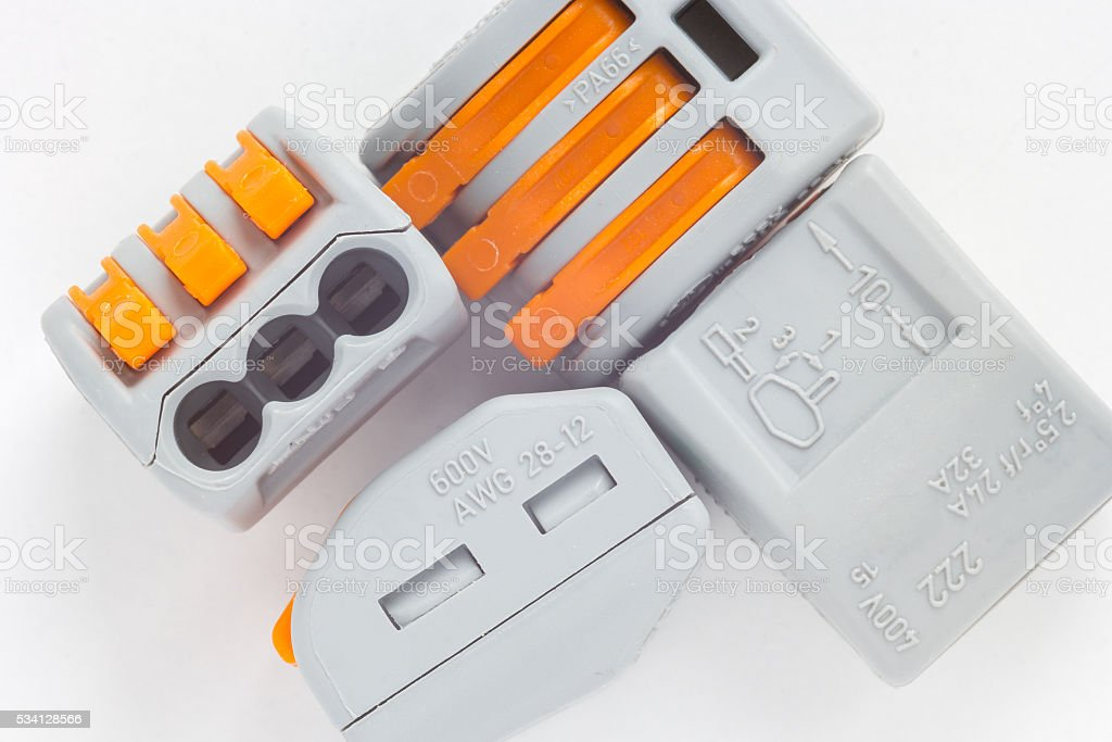 Cord-end terminals isolated. stock photo
