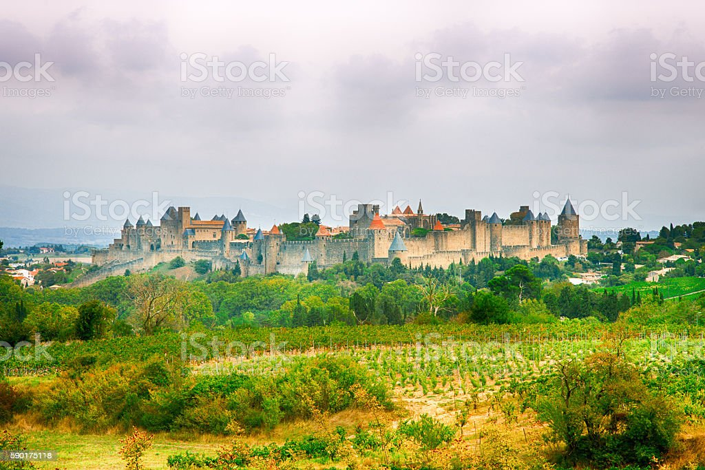 Cordes sur Ciel, a small medieval city on a hill stock photo