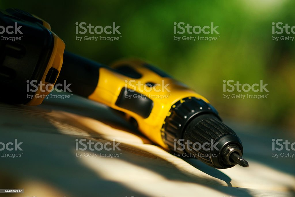 Cordless drill and screwdriver royalty-free stock photo