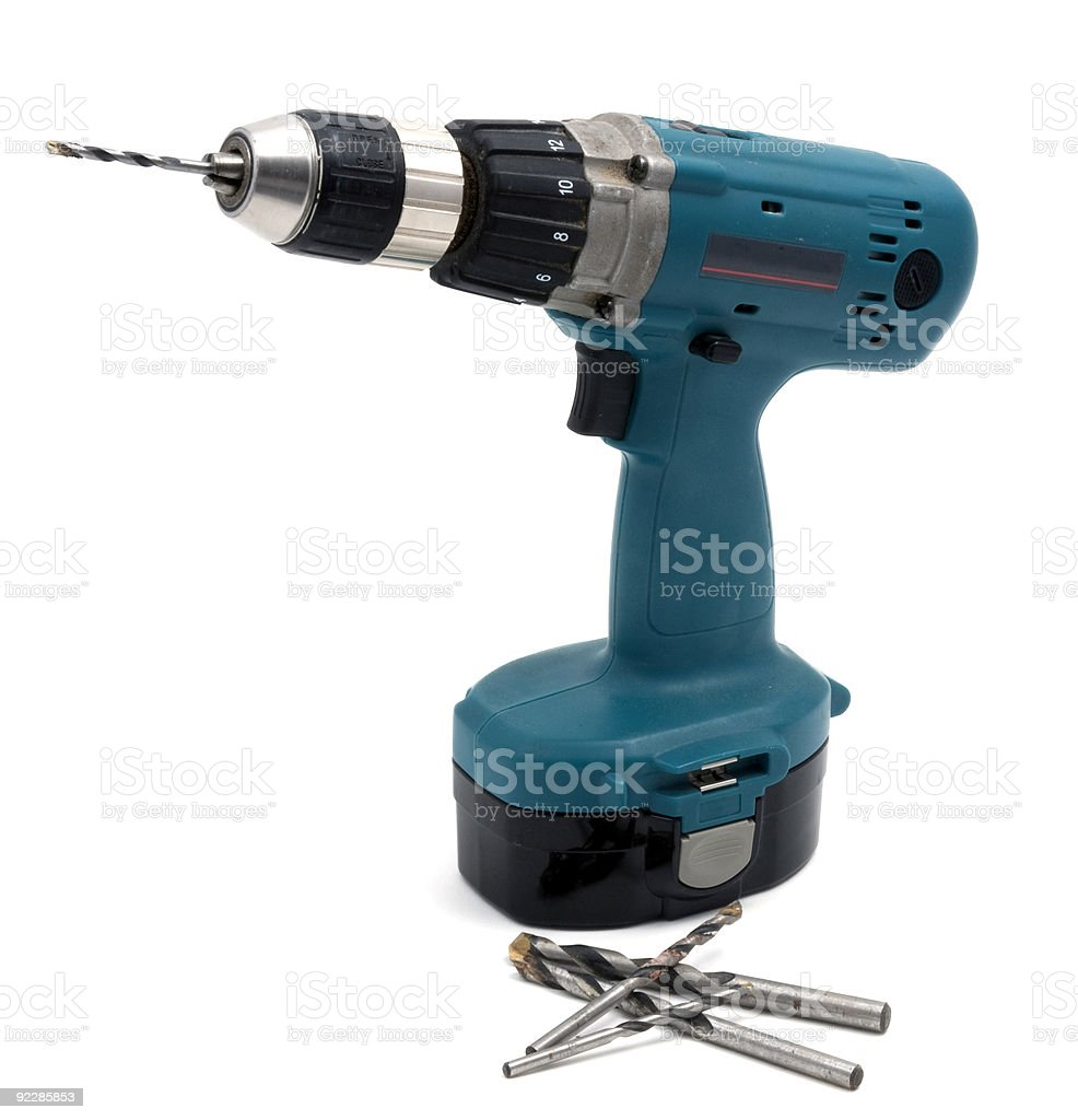 Cordless Drill with Bits royalty-free stock photo