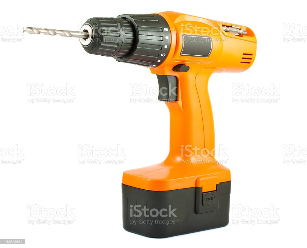Cordless drill with twist bit stock photo
