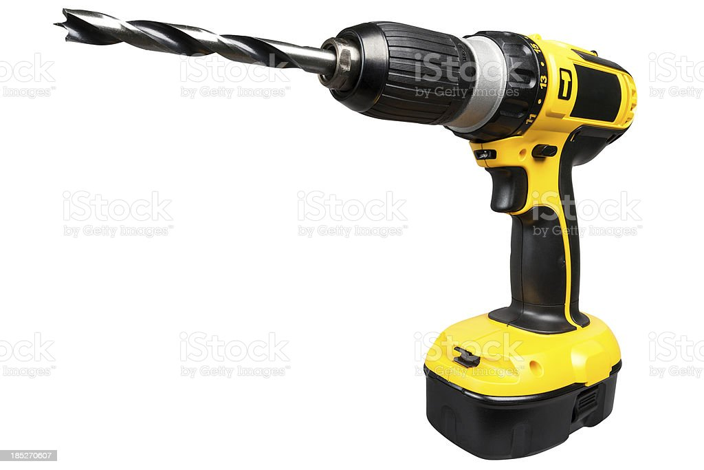 Cordless electric drill isolated on white stock photo