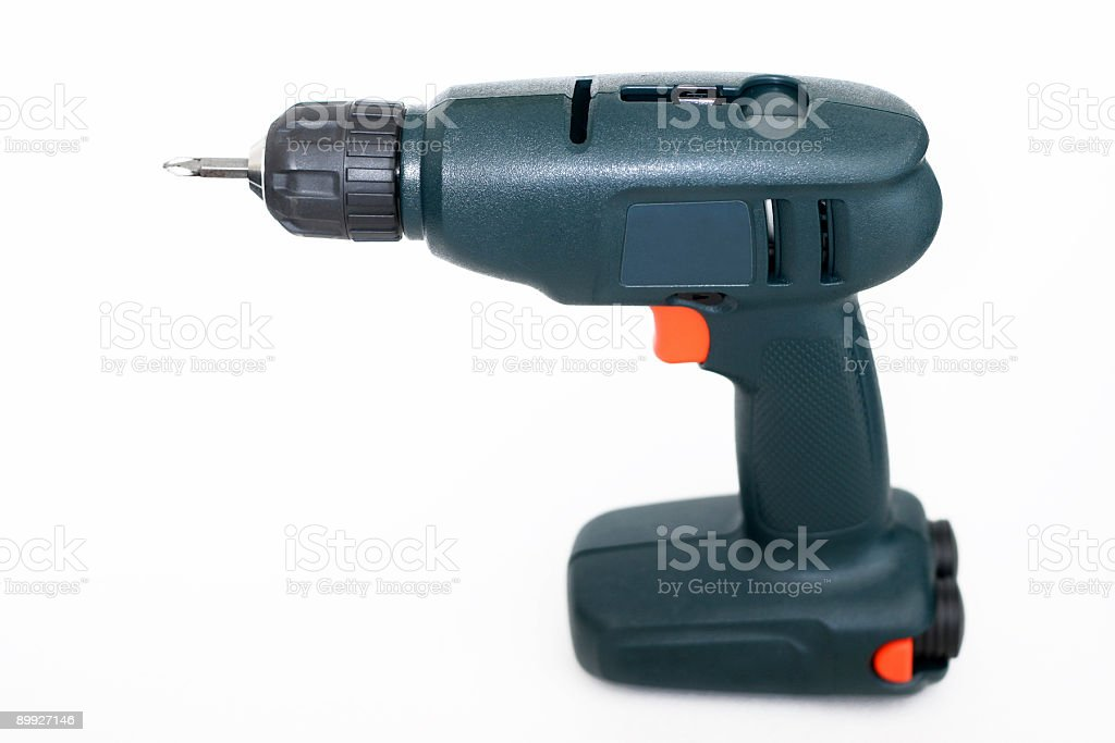 Cordless Power Drill on White Background - Side View royalty-free stock photo