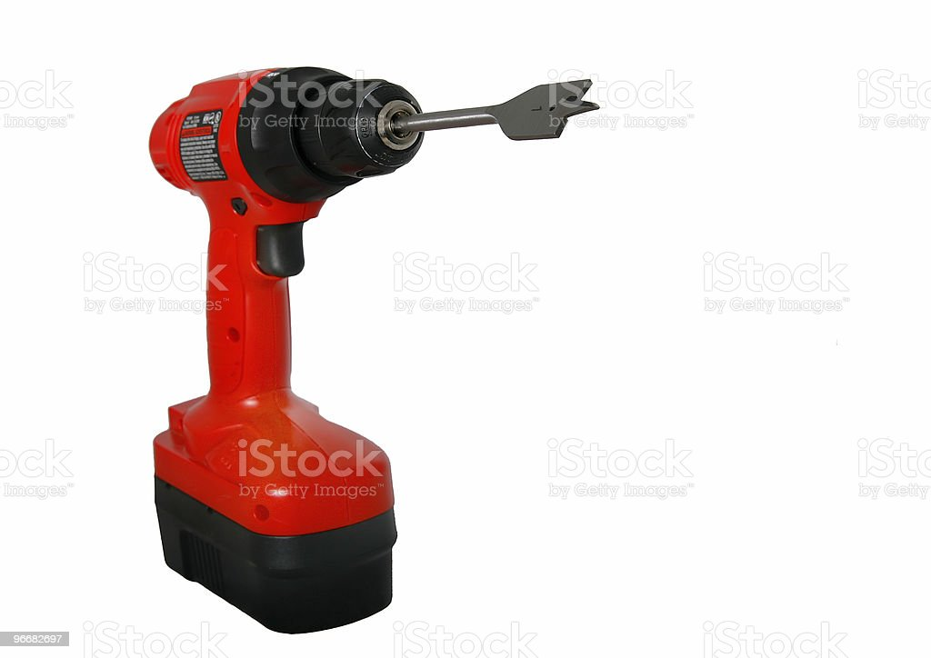cordless red drill stock photo