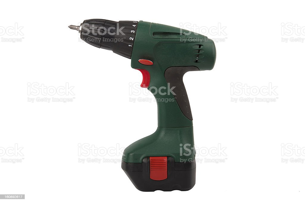 Cordless screwdriver isolated on white royalty-free stock photo