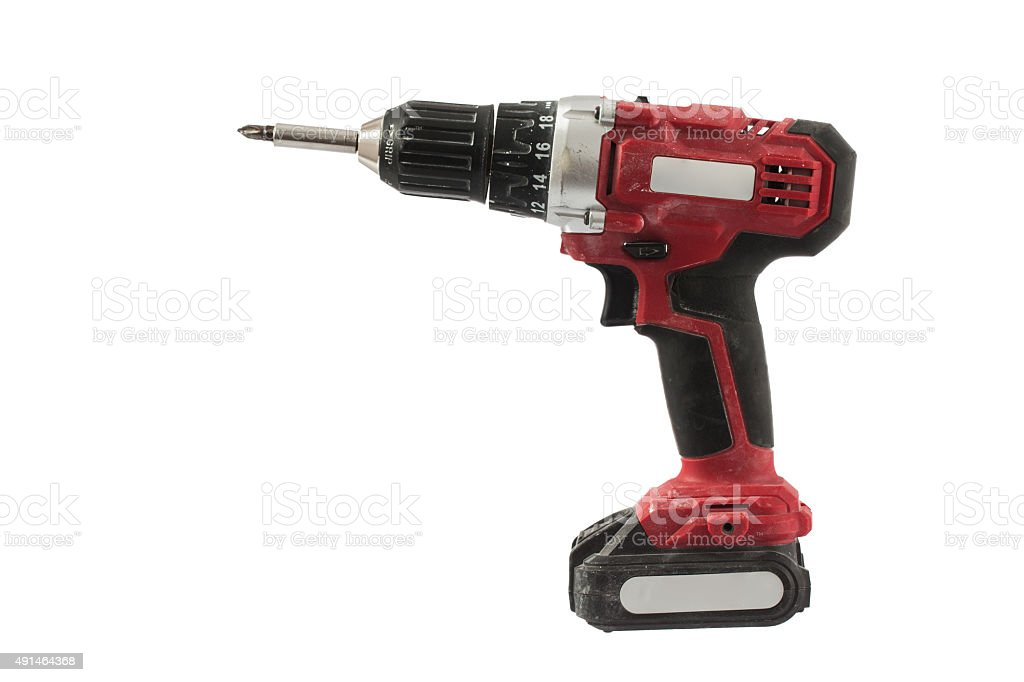 Cordless screwdriver or power drill isolated on a white backgrou stock photo
